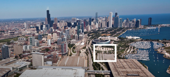 The lakefront site, outlined in white, proposed for Chicago's George Lucas Museum of Narrative Art. (Courtesy City of Chicago from Lucas Museum task force report)