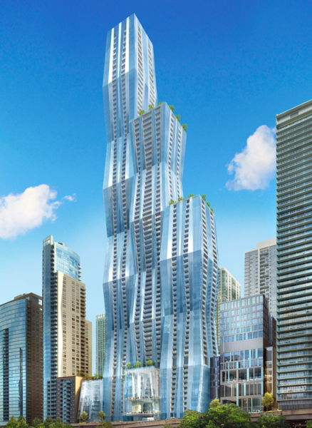 Though the news is still unconfirmed by local sources, Chinese developer Wanda Group said it would soon begin construction on a 1,150-foot-tall tower in Chicago's Lakeshore East neighborhood. It would be the city's third tallest building.  (Wanda Group)