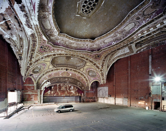 Detroit's crumbling Michigan Theatre has fallen into disrepair since its 1926 construction. (Hermann Schleicher-Roevenstrunck via Flickr)