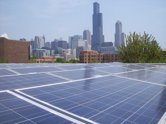 Solar panels in Chicago. (Flickr / Archigeek)