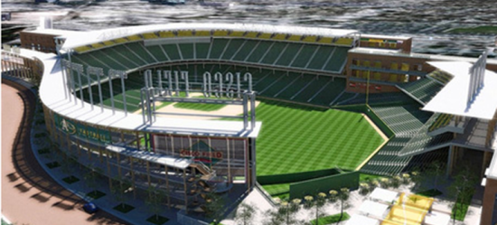 Artist's rendering of proposed A's stadium in San Jose. (San Jose Inside)