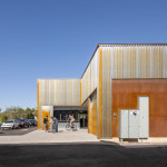 The rear entrance to the store is marked by galvanized panels. (Timmerman Photography)