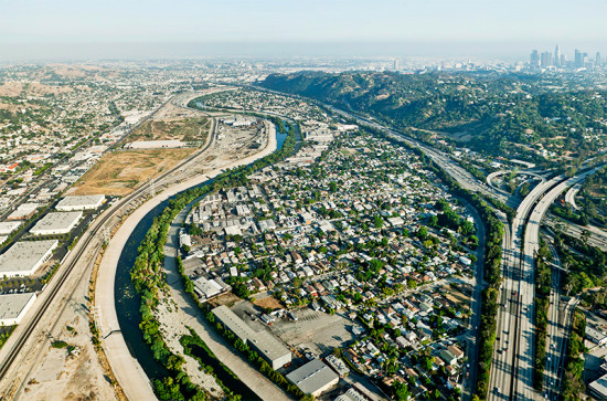 View of the Los Angeles River in Linear City at WUHO Gallery