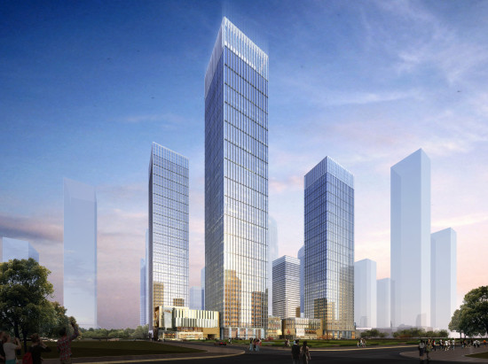 "Chicago's Goettsch Partners will design five towers for Shenzhen, China's Qianhai district, which Chinese authorities say will one day be the ""Manhattan of the Pearl River Delta."" (Goesttch Partners)"