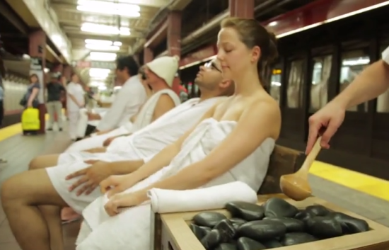 The 34th Street sauna. (Courtesy Improv Everywhere)