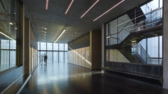 A 200-foot steel and glass curtain wall draws filtered sunlight into studios and exhibition spaces. (Timothy Hursley)