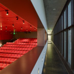 The metal and glass curtain wall brings natural light into the new 200-seat auditorium. (Timothy Hursley)