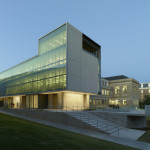 At night, the Design Center's curtain wall glows with activity. (Timothy Hursley)