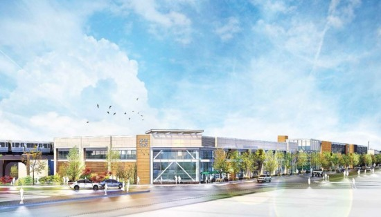 "The ""Logan's Crossing"" development includes 166,390 square feet of retail space and 426 total parking spaces on a 2.55 acre site. (Courtesy Antunovich Associates via Curbed Chicago)"