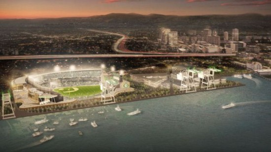 Proposed ballpark on Oakland waterfront (MANICA Architecture)