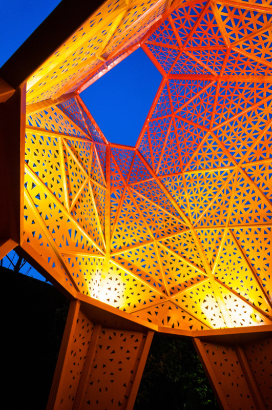 Each pavilion comprises a collection of perforated triangular panels. (Terrence Zhang)