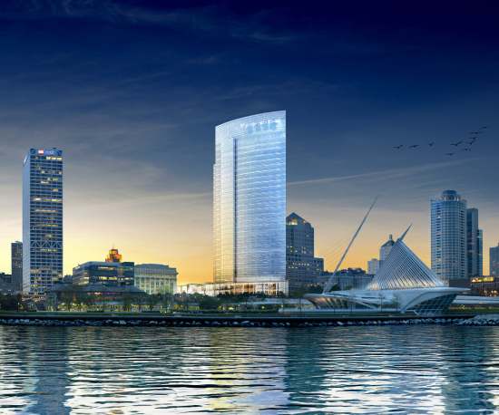 Northwestern Mutual's updated Milwaukee headquarters, which broke ground in late August, include a new 32-story tower designed by Pickard Chilton. (Courtesy Pickard Chilton)