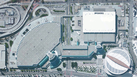 Aerial View of LA's Convention Center and Staples Center (LA Convention Center)