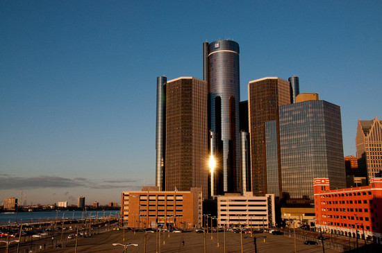 Detroit's Renaissance Center, home to General Motors, will say goodbye to Cadillac. (Loren Sztajer via Flickr)
