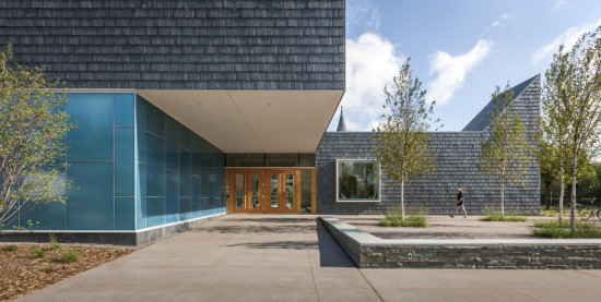 Nelson Cultural Center is clad in slate shingles, with blue art glass near the entrance. (Paul Crosby Photography)