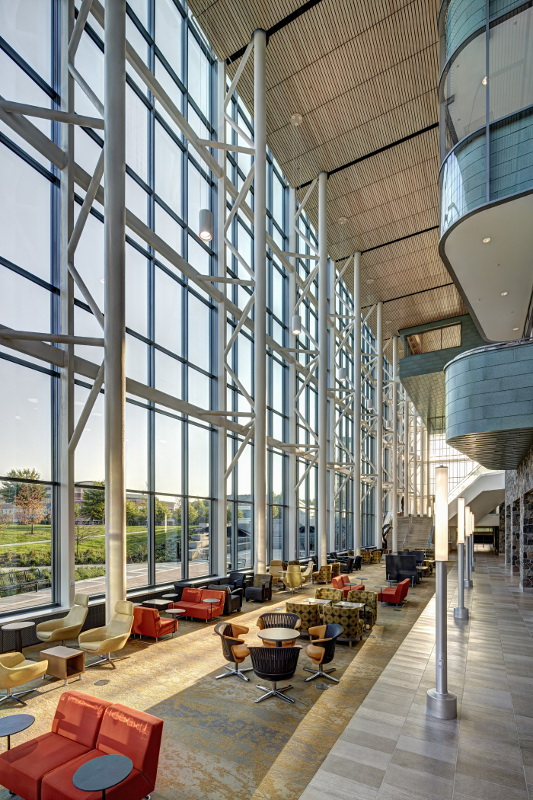 Curtain Wall Atrium : Old school meets new in stantec s pew library archpaper