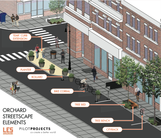 The transformed Orchard Street. (Courtesy The Lower East Side Business Improvement District and PilotProjects)