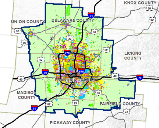 A land-use map projecting suburban sprawl around Columbus, Ohio. (Courtesy Mid Ohio Regional Planning Commission, Columbus 2020 and ULI Columbus)