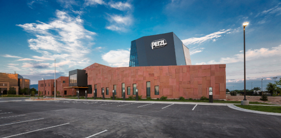 ajc architects outfitted Petzl North America's new headquarters with a southwestern-hued envelope. (©Dana Sohm)