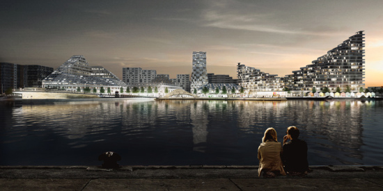 Aarhus Island at night. (Courtesy BIG via Design Boom)