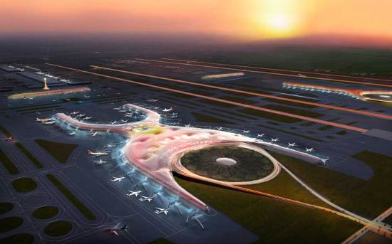 Mexico City's new airport will aim for a light environmental footprint through natural ventilation and a massive central hub. (foster + partners / FR-EE)