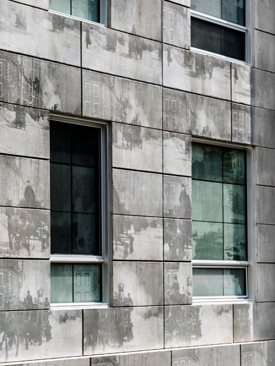Both the precast concrete panels and glazing on the primary facade feature stills from Thomas Edison's 1901 film, shot just blocks away. (Marc Cramer/v2com)