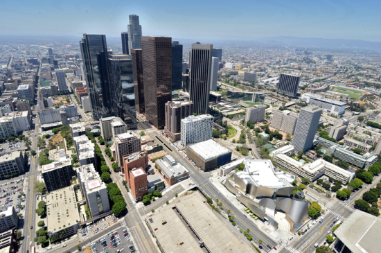 Aerial photo of the Broad and Walt Disney Concert Hall (Warren Air)
