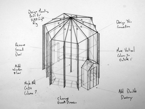 Sketch of Domus's yurt-like structure (M&A)