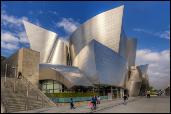 Portions of Frank Gehry's Walt Disney Concert Hall were sandblasted after construction to reduce glare. (Pedro Szekely / Flickr)