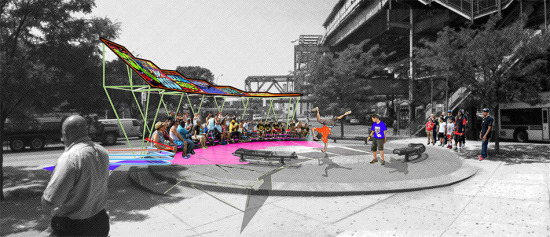 The canopy and performance space. (Courtesy SLO Architecture)