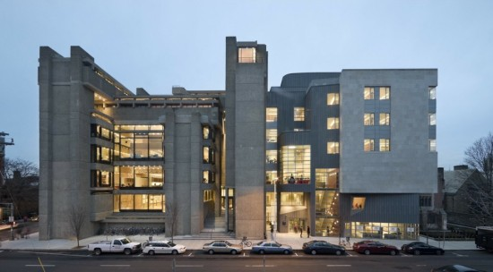 Yale's A+A Building with a Gwathmey Seigel addition at right (Peter Aaron/Esto)