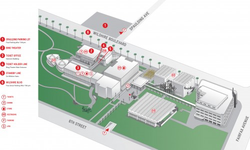 LACMA Campus Map. Most  buildings to the left (east) would be demolished. (LACMA)
