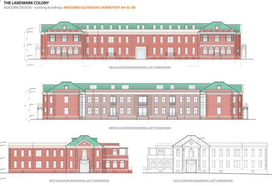 Dormitory elevations. (Courtesy Vengoechea + Boyland Architecture)