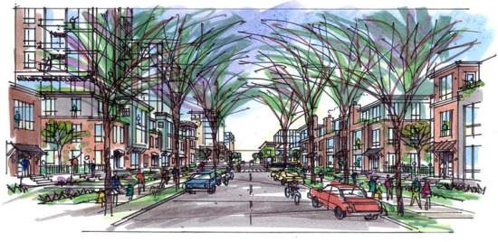 Minneapolis' 4th Street looking east from a location just east of 29th Ave., in a sketch of climate resilient neighborhood Prospect Park 2020. (Prospect Park 2020)