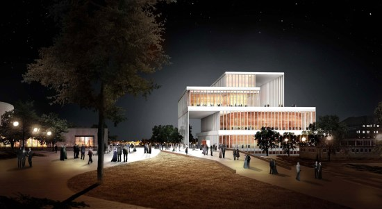 The hall at night. (Courtesy David Chipperfield Architects via  Beethoven Festspielhaus