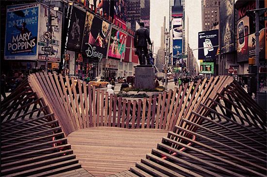 Situ Studio's Heartwalk installation in Times Square. (Courtesy Situ Studio)