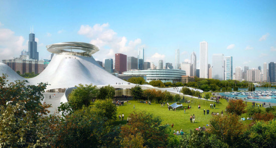 """Rising up from the land and crescendoing to a ""floating"" disc, the tallest points of the Lucas Museum will feature an observation deck, providing visitors with stunning views of both Chicago and Lake Michigan."" (MAD Architects)"