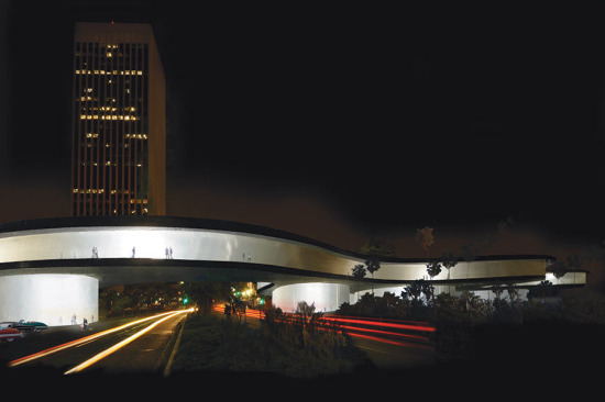 Zumthor's east expansion at night (LACMA)