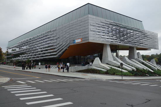 Gates Hall's facade features stainless steel panels that mitigate heat loading. (Courtesy Cornell University)
