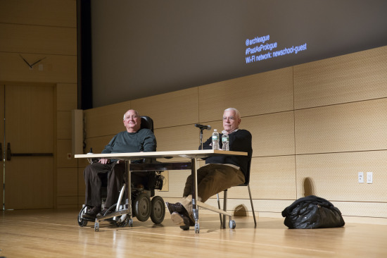 Michael Graves with Peter Eisenman at the Architectural League's symposium. (courtesy Arch