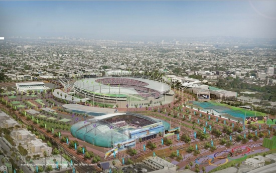 Conceptual rendering of a revamped LA Coliseum and surrounding Expo Park (Southern California Committee For The Olympic Games)