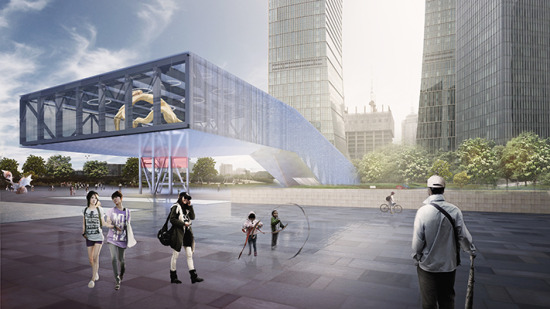 Rendering of the Lujiazui Exhibiton Centre, along the Pudong waterfront.