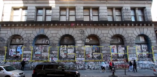 Screengrab of HOTTEA's work at 190 Bowery. (Screengrab from HOTTEA video)