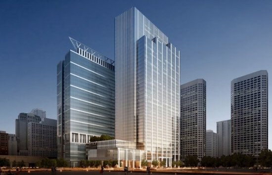 590 W. Madison, an office and hotel tower planned for Chicago's West Loop. (Goettsch Partners)