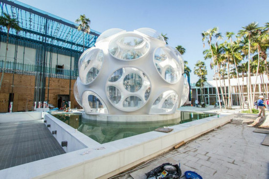 Goetz Composites designed and fabricated a reproduction of R. Buckminster Fuller's Fly's Eye Dome in cooperation with the Buckminster Fuller Institute. (Lala Periera)