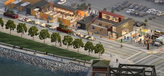 The Yard would consist of retail-centered shipping containers just outside the stadium. (Steelblue)