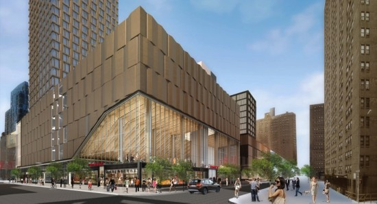 Site 2 by Handel Architects includes rental housing, Essex Street Market, Regal Cinema, rooftop urban farm, and retail. (Courtesy Handel Architects)