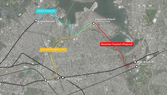 Three options for LaGuardia service. (Courtesy The Transport Politic)