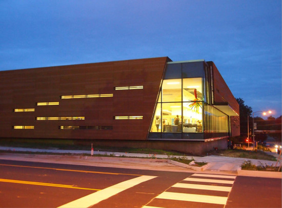 The new facade opens the library to the surrounding community. (Courtesy Gould Evans)