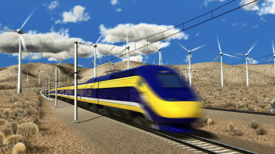 Rendering of HSR train moving through the Tehachapi Pass (CA HSR Authority)